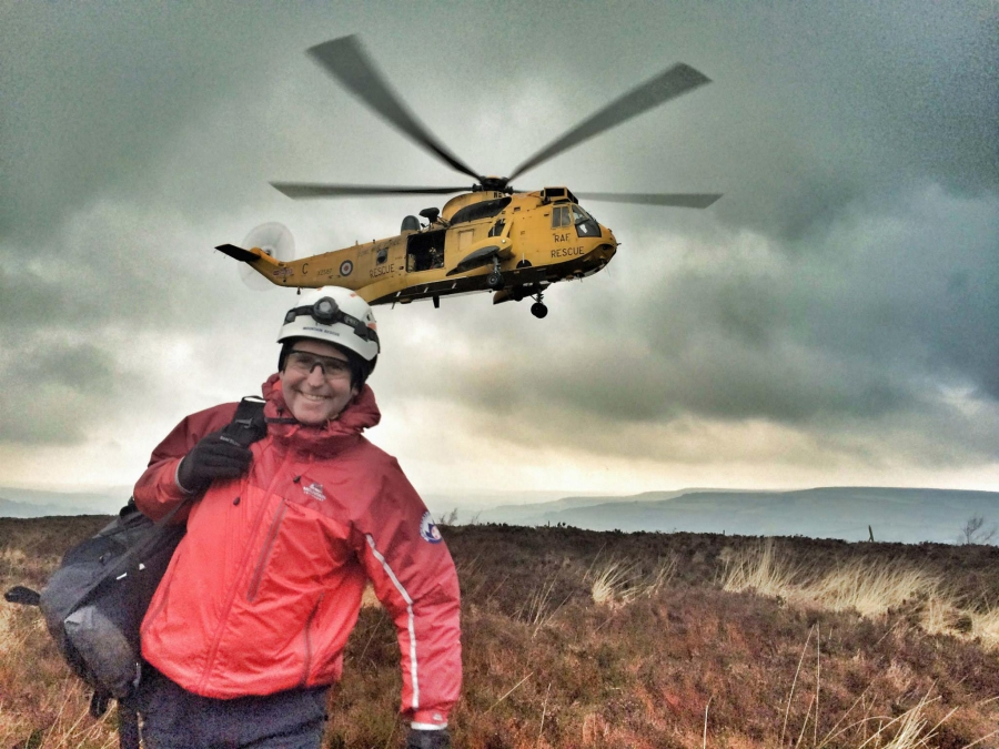 CVSRT Richard Graves' beaming smile after being winched down from the RAF Seaking - Search and Rescue Helicopters